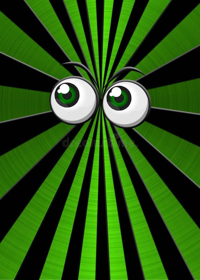 Green eyeballs on star burst background royalty free illustration
