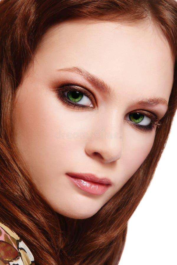 Green-eyed beauty stock photography