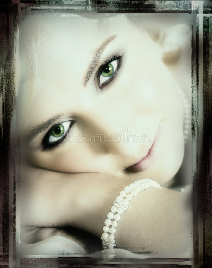 Green-eyed Braut - Weinleseende lizenzfreies stockfoto