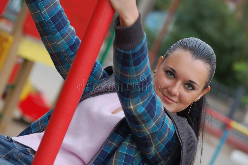 Green-eyed Brunette stockfoto