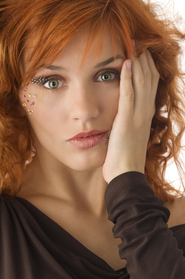 Green eyes red head royalty free stock photos
