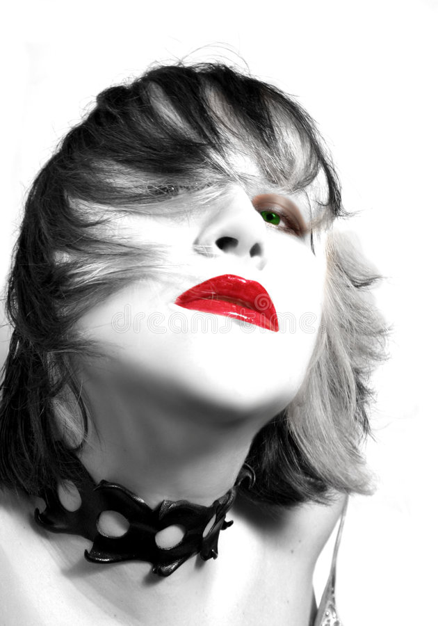 Green eyes red lips royalty free stock photography