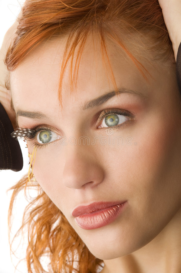 Green eyes redhead stock photos