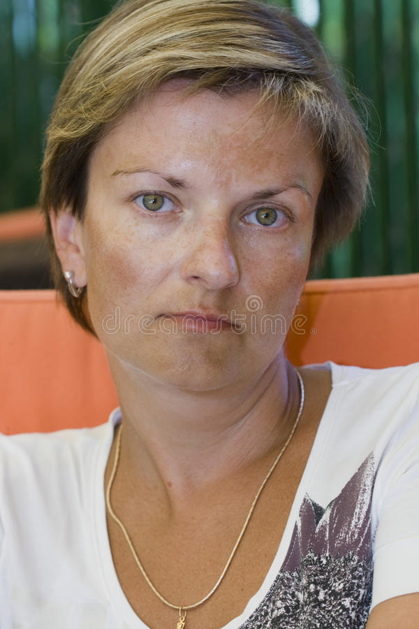 Green eyes woman stock photos