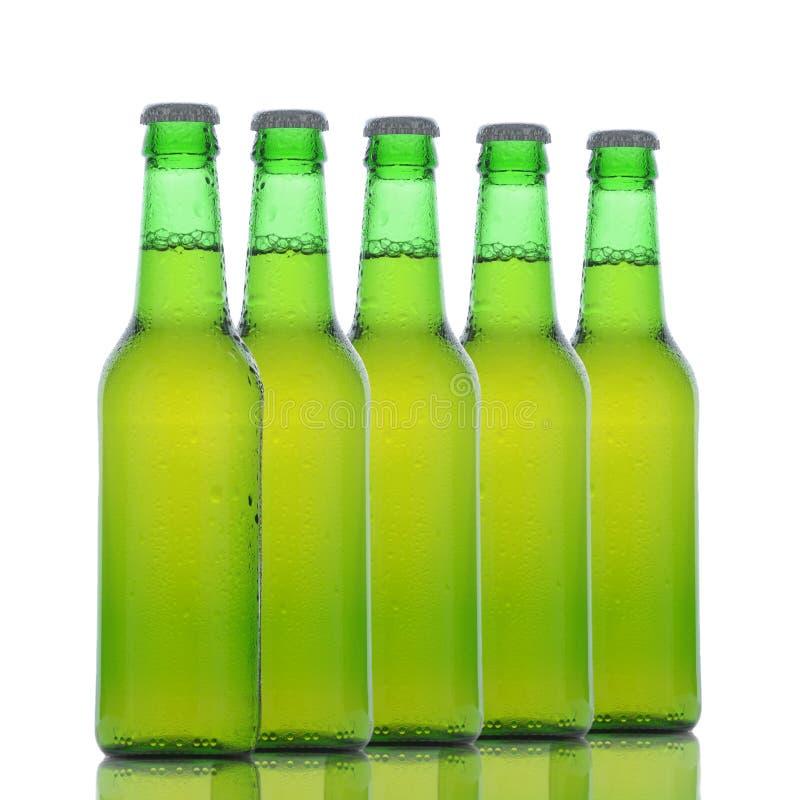 green för ölflaskar fem royaltyfri foto