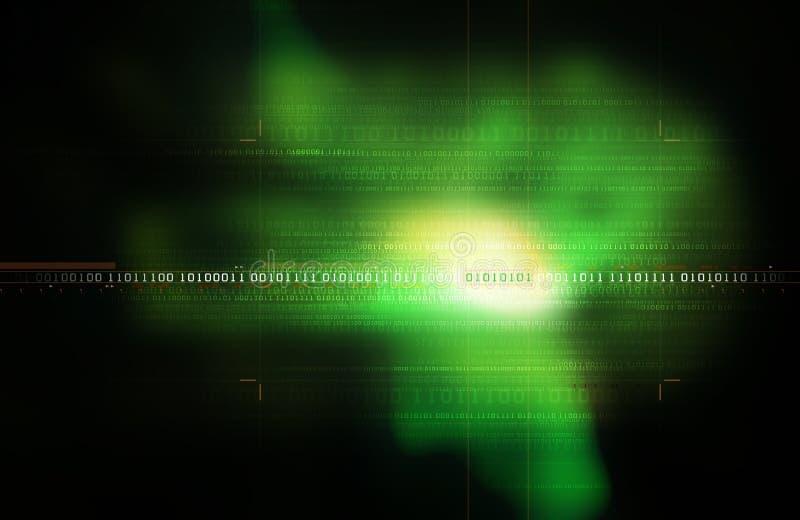 green för binär kod royaltyfri illustrationer