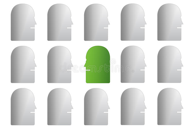 Green face in grey group stock illustration