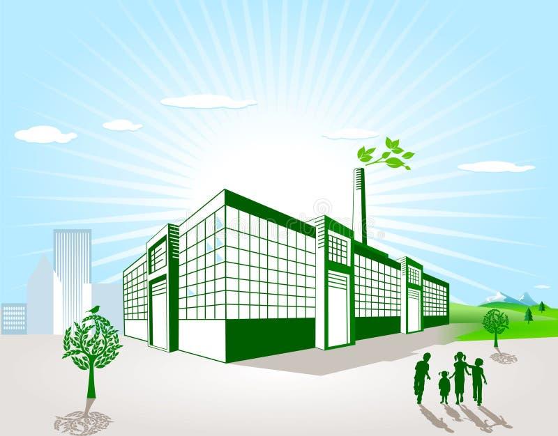Green factory vector illustration