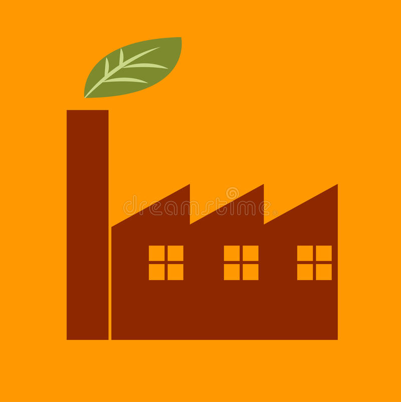 Green factory icon royalty free illustration