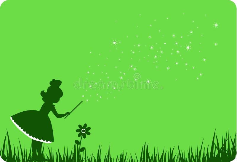 Green fairy and flower. Green fairy and flower on green meadow stock illustration