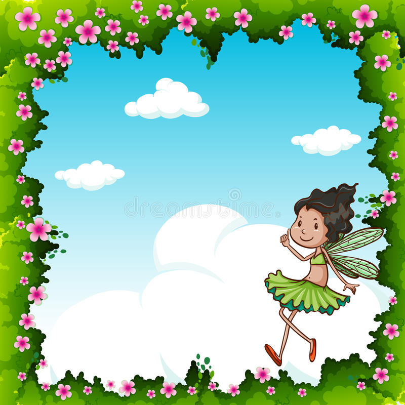 Green fairy flying in the sky vector illustration