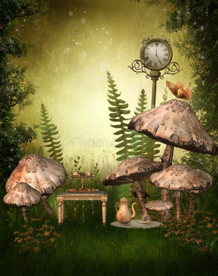 Green fairy garden. With mushrooms and flowers vector illustration