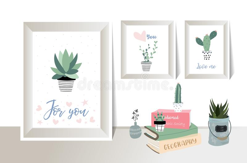 Green fame with cactus, leaf, flower on the wall. Green fame with cactus leaf flower on the white wallpaper stock illustration