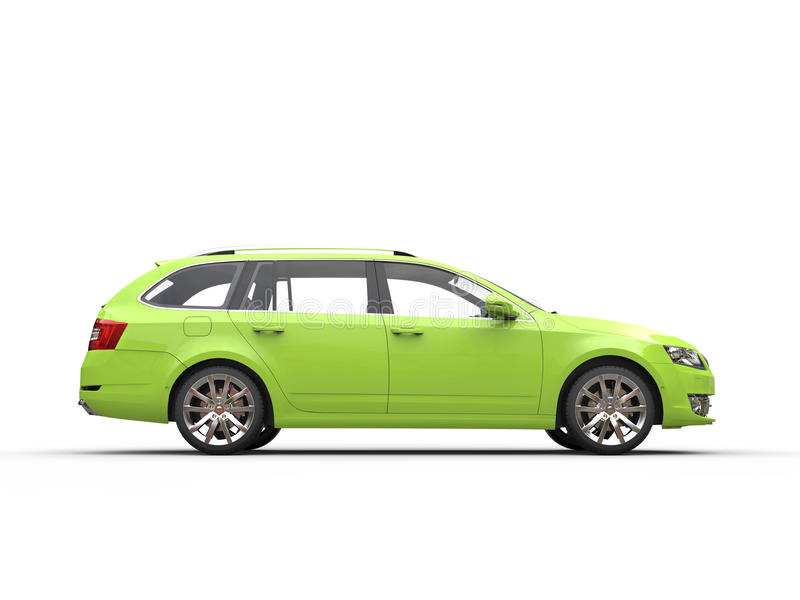 Green family car - side view. Isolated on white background stock images
