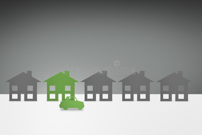 Green family House and Car concept vector illustration