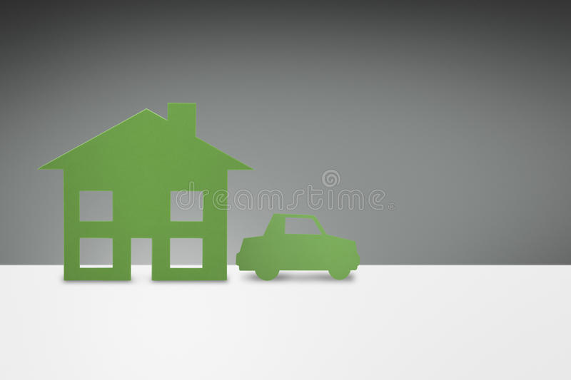 Green family House and Car concept stock illustration