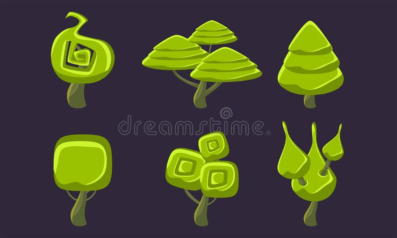 Green Fantasy Shape Trees Set, Fantastic Forest Elements, Game Ui Scenics Vector Illustration vector illustration