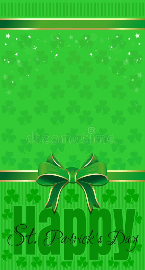 Green festive background with leafed clover, ribbon and bow. Happy St. Patricks Day royalty free illustration