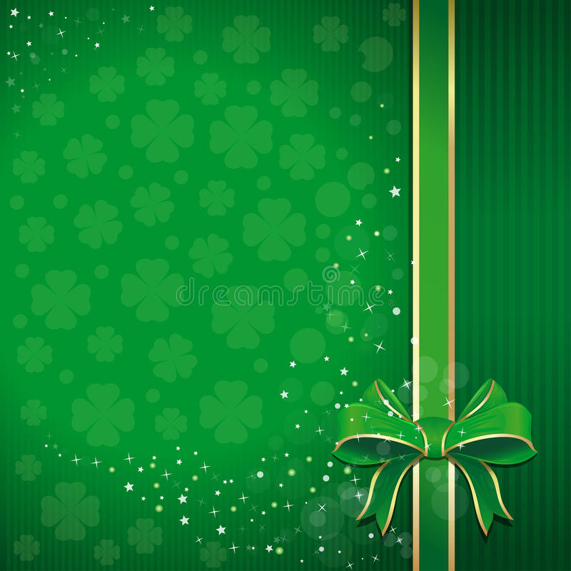 Green festive background with ribbon, bow and leafed clover for St. Patricks Day with free space for text vector illustration