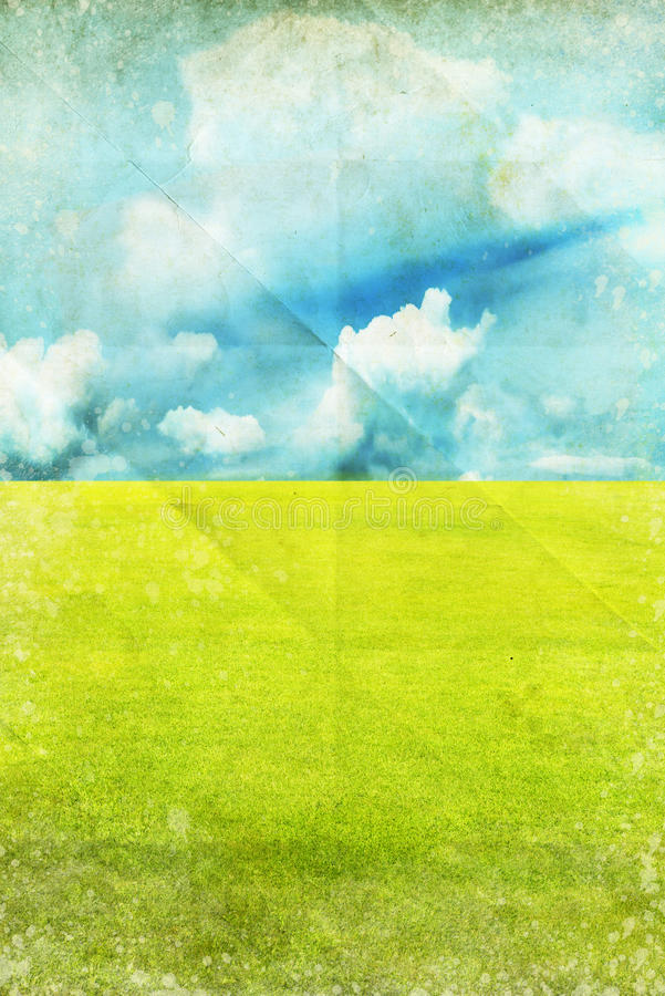 Green field and blue sky royalty free illustration