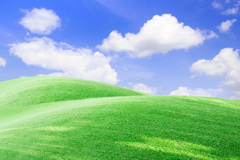 Green field and blue sky with light clouds stock photos
