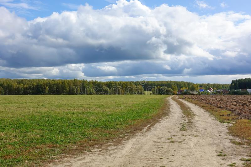 Green field, dirt road. sky with clouds. Beautiful landscape.  stock photos
