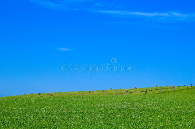 Green field and hale bales royalty free stock photo
