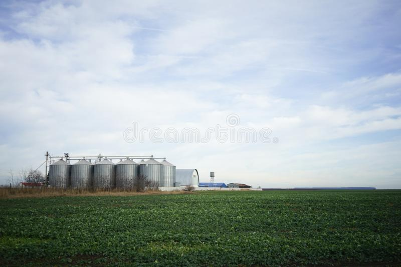 Green field and metallic silos in clrear sky. Soy field and silos in the background in a clear sky day, winter time, as seen from the window of Oltenita train in stock photos