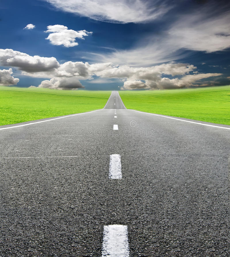 Download Green Field And Road Over Blue Sky Stock Image - Image: 26415839