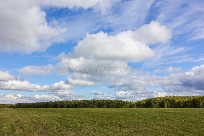 Green field and sky with clouds. Beautiful landscape.  royalty free stock photo