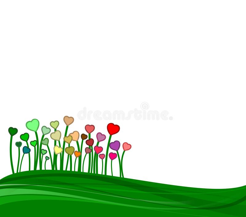 Green field with some colorful hearts in a springtime scene royalty free stock photo