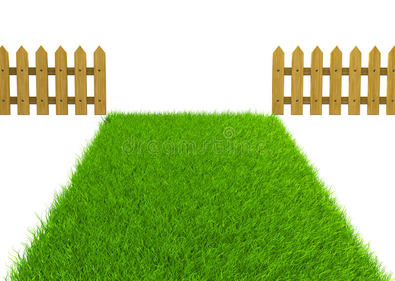 Download Green Field And Wooden Fence Stock Illustration - Image: 25110379