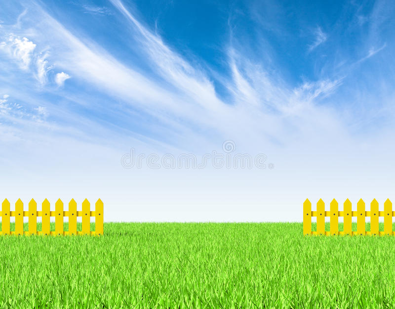 Download Green Field And Yellow Fence Stock Illustration - Image: 25100562
