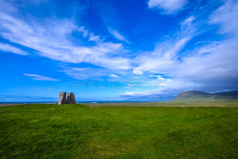 Green fields with blue skies royalty free stock image
