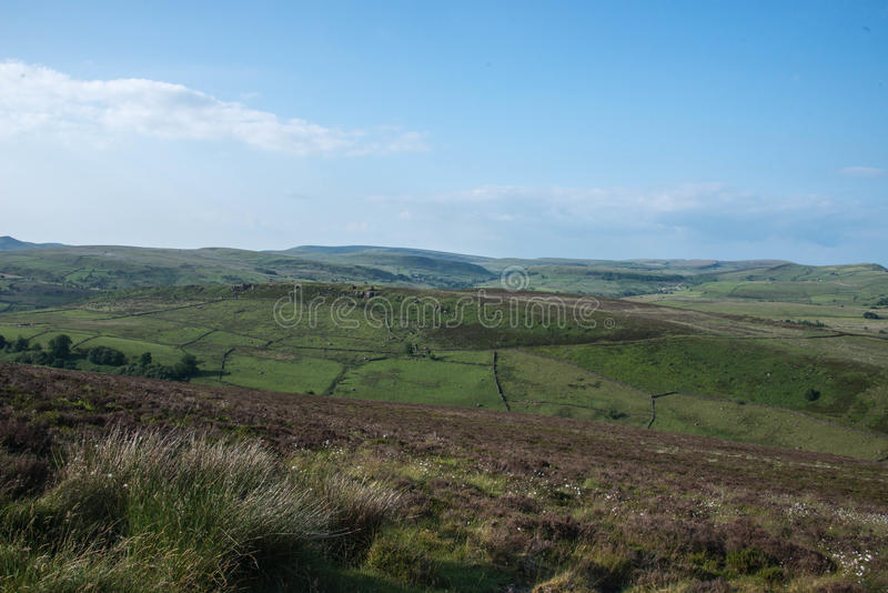 Green fields in Peak District stock photos