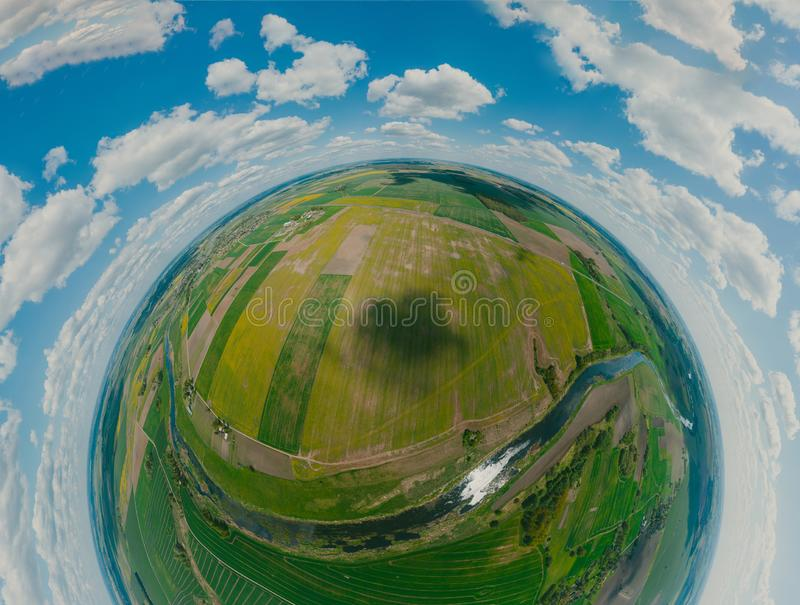 Green Fields, River and blue sky in Europe, 360 VR Sphere royaltyfri foto