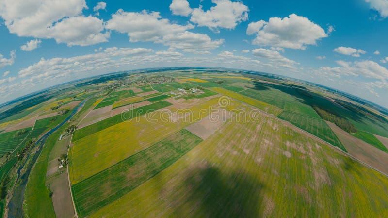 Green Fields, River and blue sky in Europe, 360 VR Sphere royaltyfri fotografi