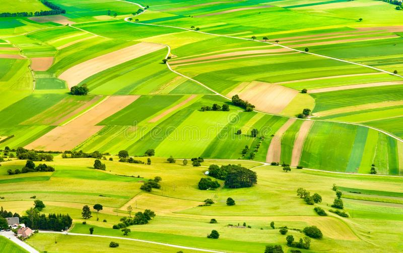 Green fields and slopes royalty free stock image