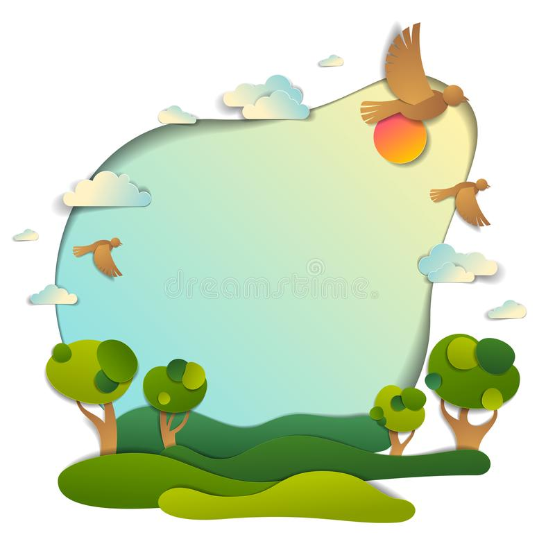 Green fields and trees scenic landscape of summer with clouds bi stock illustration