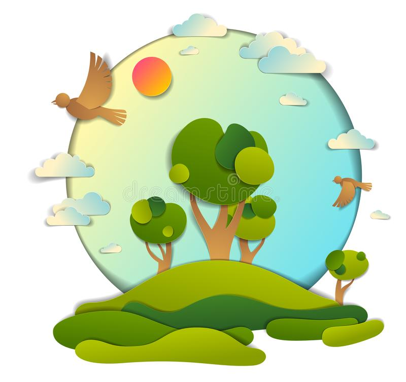Green fields and trees scenic landscape of summer with clouds birds and sun in the sky, paper cut style childish illustration, stock illustration
