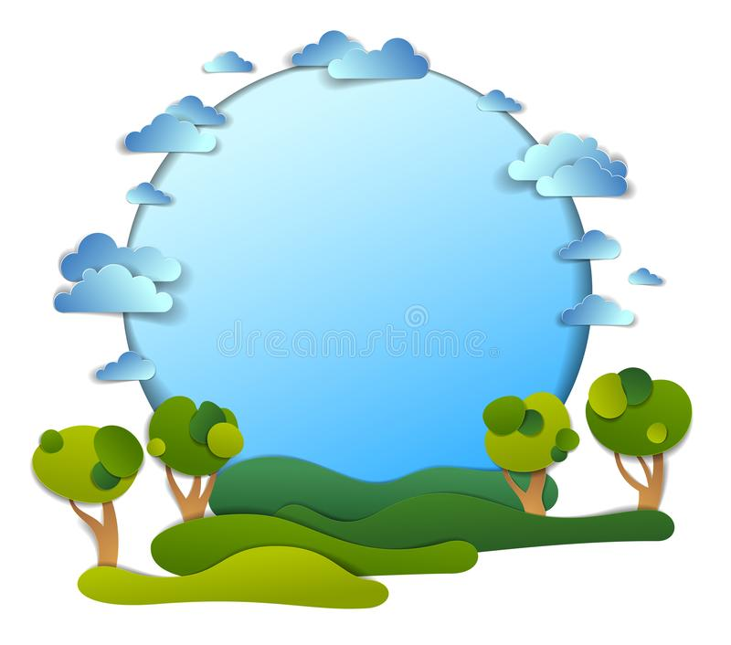 Green fields and trees scenic landscape of summer with clouds in the sky, frame background with copy space,  paper cut vector illustration
