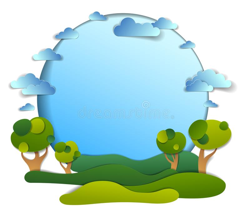 Green fields and trees scenic landscape of summer with clouds in the sky, frame background with copy space,  paper cut stock illustration