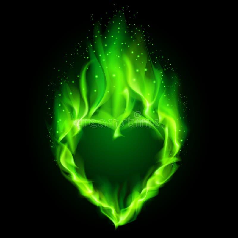 Green fiery heart. royalty free illustration