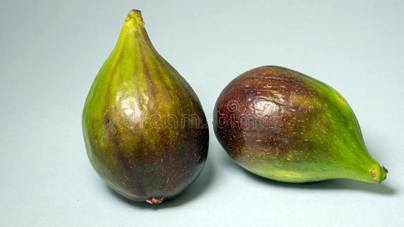 Green figs, two fruits on a light gray background, close-up.  stock image