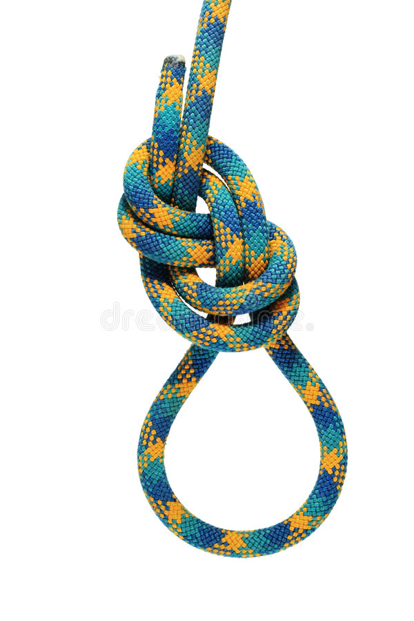Green figure eight knot stock photography