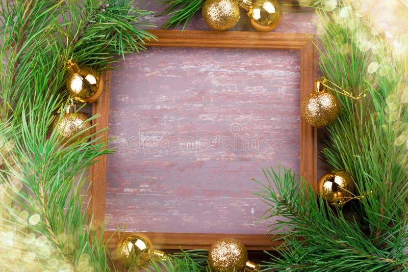 Christmas decoratins frame top view royalty free stock photos