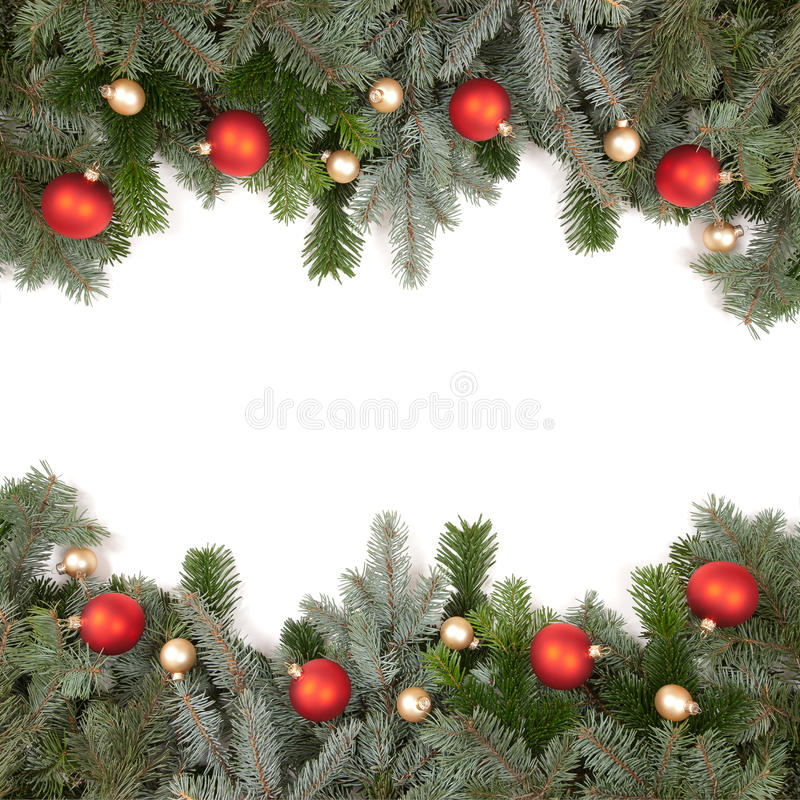 Download Green Fir Twig Frame With Christmas Balls Stock Photo - Image: 11795032