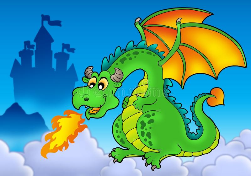 Download Green Fire Dragon With Castle Stock Illustration - Illustration: 12955301