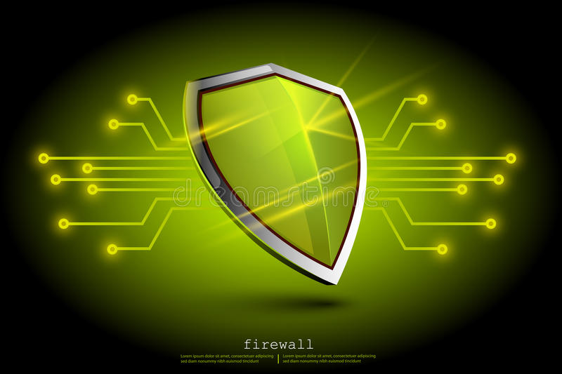 Green firewall shield backdround. internet security. Shield on the background of the map represents a danger stock illustration