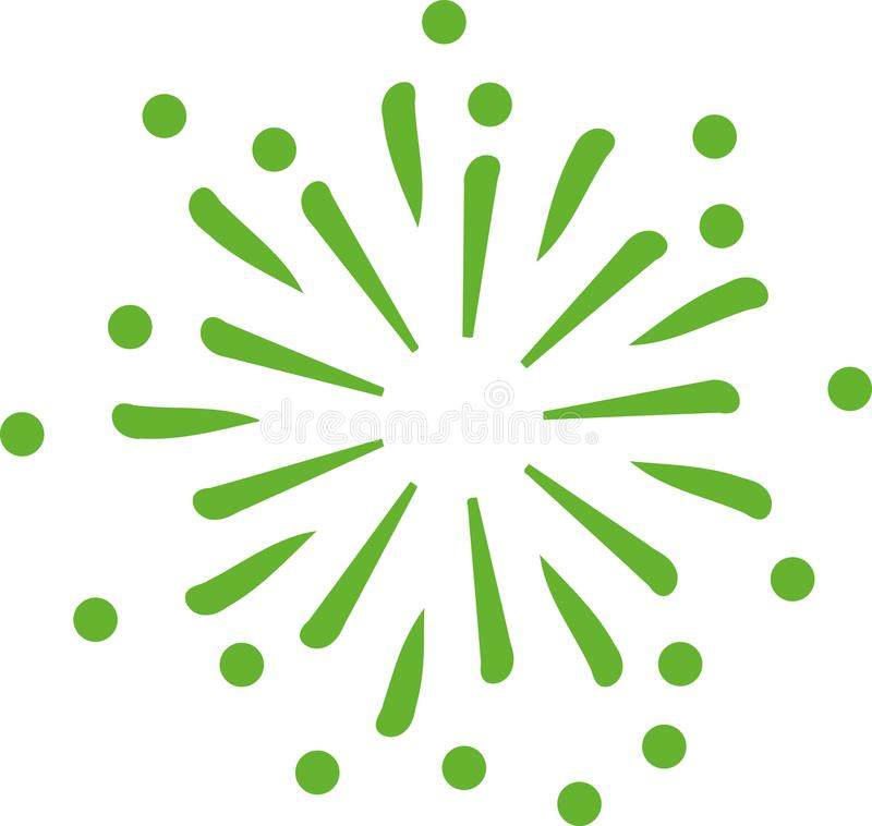 Green firework icon. Green firework new years eve vector icon royalty free illustration